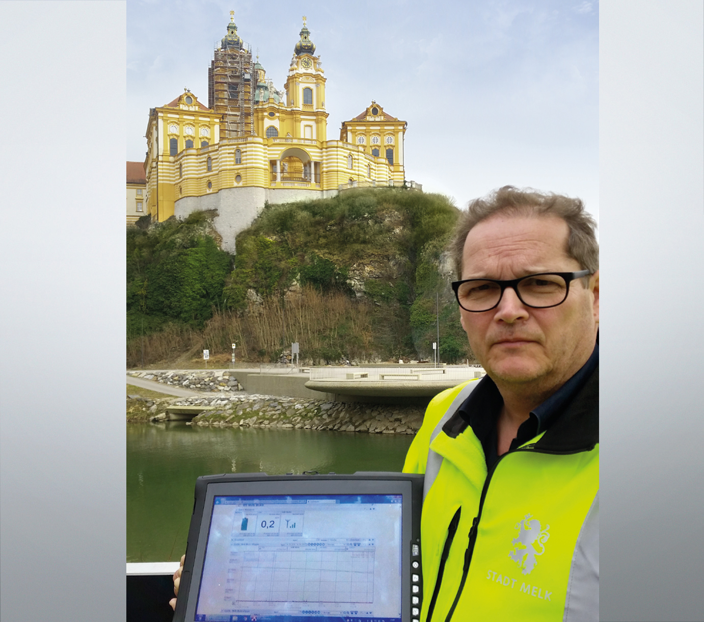 Treatment plant employee Marius Probst in front of Melk Abbey